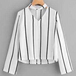 Tops - V Cut Striped Zip Back Blouse